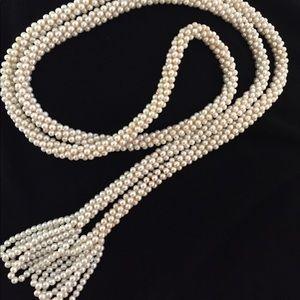 Vintage Flapper Pearl Tassle Necklace